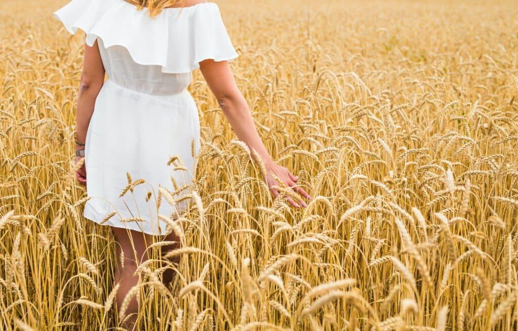 femme en robe blanche se promène dans un champ de blé